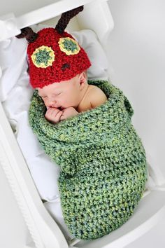 Very Hungry Caterpillar Newborn Set    Supplies:  * 1 skein of Lion Brand Homespun Pesto (Bulky 5)  * 2 oz. of Lion Brand Homespun Candy Apple (dark red; Bulky 5)  * Less than 2 oz. each of Caron Simply Soft Sunshine and Chocolate  * Sizes N and J crochet hook