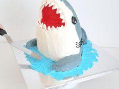 shark week party food - How to Make a Shark Cake Food Network Shark Cupcakes, Shark Cake, Shark Birthday Cakes, 4th Birthday, Birthday Ideas, Fish Candy, Sea Cakes, Diy Cake, Cake Tutorial