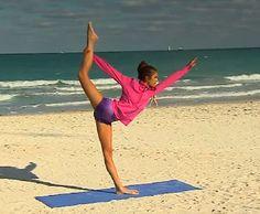Nina Dobrev doing yoga