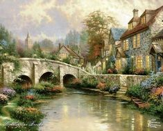 Quiet Sunday - houseing, bridge, stream, painting, art, garden, thomas kinkade