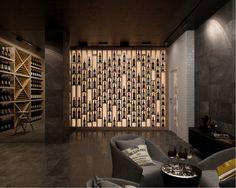 basement back wall wine closet Wine Bottle Wall, Wine Rack Wall, Wine Wall, Wine Shop Interior, Bar Interior, Wine Shelves, Wine Storage, Cafe Bar, Wine Cellar Design