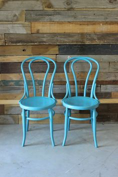 Pair Of Thonet Style Vintage Bentwood Cafe Chairs W/Classic Rounded Back,  Color Inspiration