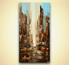 City Abstract Painting  original Downtown Modern Palette knife