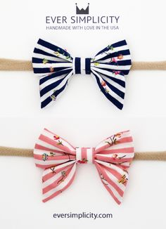 """Baby Girl Flower Stripe Sailor Bow Headband - EverSimplicity.com. Hand-crafted sailor bows for the little ladies! A beautiful sailor bow in a stripe and flower pattern. Bow fabric 100% cotton.  Nylon Headband. Bow measures approximately 3"""" x 2.5"""" Attached to a nude nylon band (one size fits all) . Each bow is hand-cut, pressed, and sewn with love by our team in California.  We guarantee our bows 100%!"""