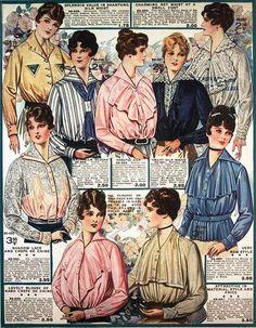 Waists & Blouses, Eaton's Spring & Summer Catalog, 1917. #vintage #Edwardian #fashion