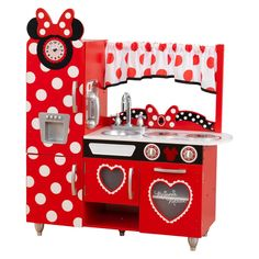 Cook an imaginative feast of food and fun with the KidKraft Minnie Mouse Toddler Kitchen. Minnie Mouse Toddler Kitchen Wood NEW IN BOX. Minnie Mouse Kitchen, Minnie Mouse Toys, Play Kitchen Sets, Toy Kitchen, Kidkraft Kitchen, Kitchen Dining, Play Kitchens, Little Girl Toys, Toys For Girls