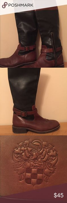 Vince Camuto Flavian Black and Tan knee-high boots Black and Tan knee-high leather boots. Great condition. Size 6 Vince Camuto Shoes Winter & Rain Boots