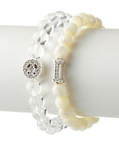 65% OFF Anzie 2-Piece Clear Quartz & Mother of Pearl Boheme Beaded Bracelet Set