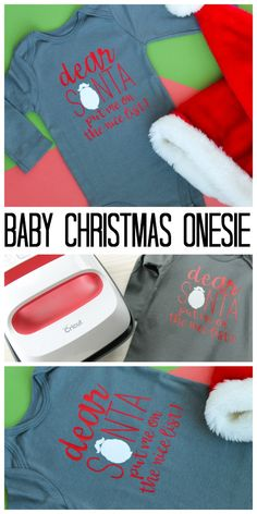 Making a baby Christmas onesie for your little one with the Cricut! A quick and easy Santa onesie with the cut file for you to make at home! Baby Christmas Onesie, Christmas Crafts For Kids, Diy Christmas, Cricut Tutorials, Cool Diy Projects, Christmas Inspiration, Onesies, Diy Crafts, Santa Beard