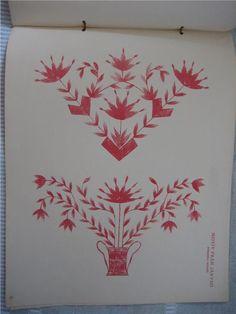 Mönster på järvsösöm från boken Allmogemönster av Martina Olsson från 1928.