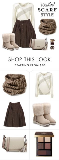 """Winter Scarf Style"" by shoujoandmore ❤ liked on Polyvore featuring Lafayette 148 New York, Burberry, Guy Laroche, MICHAEL Michael Kors, Bobbi Brown Cosmetics, cute, contest and scarf"