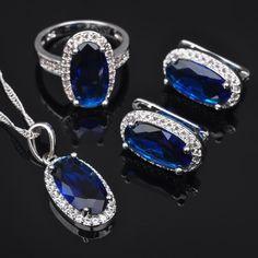 Band Blue Sapphire Zircon Gemstone Silver Women Jewelry Sets Qz0167