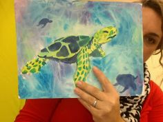 Mini Matisse: Watercolor Turtles-- Video of steps to create this watercolor painting.  This is perfect for middle school.