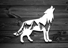 Mountain Wolf Vinyl Decal Car Decal Mountain Decal Laptop Stickers Nature Decal Adventure Decal Animal Decal Decals For Yeti Tumbler Car Stickers, Laptop Stickers, Car Decals, Vinyl Decals, Metal Art, Wood Art, Gravure Laser, Wolf, Bear Silhouette