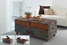 AuBergewohnlich SalesFever® Holz Truhe, Couchtisch, Holztisch Aus Hochwertigem Recyceltem  Holz, 110 X