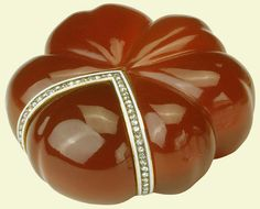 Pumpkin-shaped box | before 1896 Cornelian mounted with gold, enamel and rose diamonds