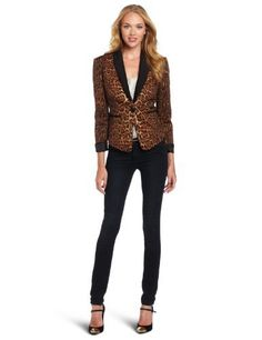 BCBGMAXAZRIA Women's Bowie Leopard Tuxedo Jacket BCBGMAXAZRIA. $248.00. 97% Cotton/3% Spandex. Tuxedo style blazer. Dry Clean Only. Made in China. Fitted silhouette