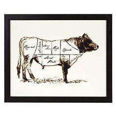 Framed with hues of dark espresso, our Cow Butcher Chart print adds a masculine touch to his space.