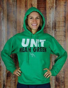Stay warm this fall/winter in this Kelly green University of North Texas Mean Green hoodie. University Of North Texas, Mean Green, Kelly Green, Hoodies, Sweatshirts, Stay Warm, Barefoot, Fall Winter, Graphic Sweatshirt