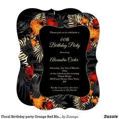 Shop Floral Birthday party Red Orange Black Hibiscus Invitation created by Zizzago.