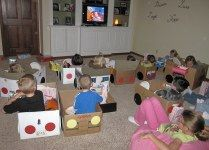 Drive-In Movie Birthday Party/SleepOver Idea for Kids.  Bring supplies and let them decorate their cars!