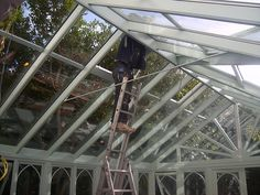 Glass roof panels - conservatory