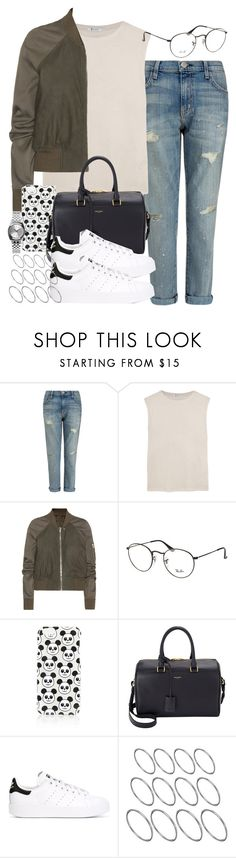 """Sin título #3932"" by hellomissapple on Polyvore featuring moda, Current/Elliott, T By Alexander Wang, Rick Owens, Ray-Ban, Topshop, Yves Saint Laurent, adidas Originals, ASOS y Nixon"
