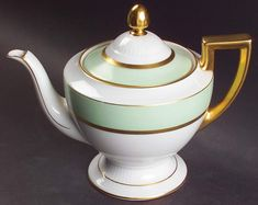 Clyde Green Teapot & Lid by Tirschenreuth | Replacements, Ltd. Green China, Pattern Code, Dessert Sauces, Vegetable Bowl, Utensil Holder, China Dinnerware, Glass Domes, Cup And Saucer Set, Serving Platters
