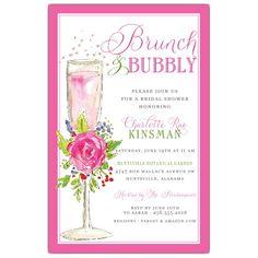 6dde50e7ff68 Botanical Champagne Bridal Shower Invitations