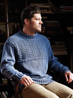 Rowan Gansey sweater pattern - using linen/cotton blend yarn