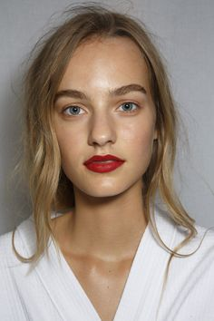 matte red lip, brows, minimal