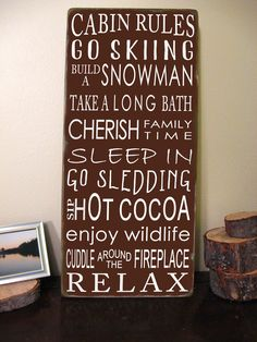 READY to SHIP - Cabin Rules -Vintage Style- Typography Sign. $95.00, via Etsy.