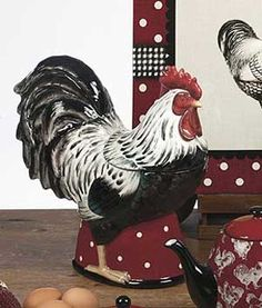 Country Rooster Cookie Jar by Tina Higgins - Certified International Dinnerware Rooster Kitchen Decor, Rooster Decor, Chicken Kitchen, Doodle Doo, Chickens And Roosters, Vintage Cookies, Galo, Country Charm, Coq