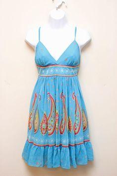 Rampage Blue Floral Dress Spaghetti Strap Empire Waist Size 13 | eBay