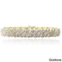 DB Designs 1ct Diamond Wave Link Tennis Bracelet ($75) ❤ liked on Polyvore featuring jewelry, bracelets, yellow, diamond bangle, diamond tennis bracelet, yellow jewelry, diamond jewelry and pave jewelry