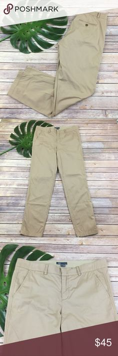 Vince straight leg khaki chino pants Vince. skinny leg khaki pants, size 10. They are free from any rips or stains. They measure about 36 inches around the waist and the inseam is about 31 inches. The rise is about 10 inches. Vince Pants Straight Leg