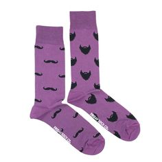 Beard or moustache? Have both with our men's purposely mismatched moustache and beard socks! Designed in Canada and ethically made in Italy by Friday Sock Co.   Click to see more!