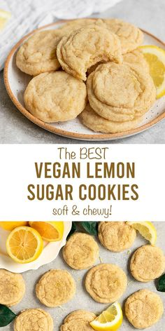 Truly the best easy Vegan Lemon Sugar Cookies! These soft & chewy lemon cookies made from scratch are so lemony and make the perfect simple sugar cook. Vegan Dessert Recipes, Vegan Sweets, Easy Desserts, Health Desserts, Recipes Dinner, Vegetarian Recipes, Vegan Lemon Desserts, Desserts Keto, Vegan Lemon Cake