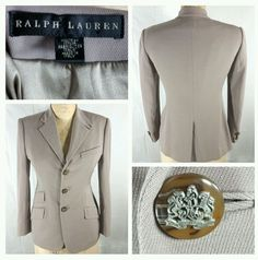 Ralph Lauren Black Label 3 button wool/silk/suede taupe blazer/jacket women #RalphLauren #Blazer