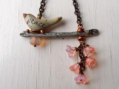 peace beaded necklace | Peace - handmade necklace, chain necklace, bead necklace, bird jewelry ...