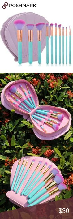 NWT 10-pc Seashell Mermaid Makeup Brush Set Brand new 10-piece mermaid themed makeup brush set in a lavender seashell makeup bag. Brushes are synthetic with turquoise handles and purple and pink gradient bristles. Accessories