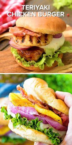 Turkey Burger Recipes, Chicken Sandwich Recipes, Grilled Chicken Recipes, Grilled Burger Recipes, Tasty Burger, Best Burger Recipe, Burger Food, Vegetarian Sandwiches, Gourmet Sandwiches