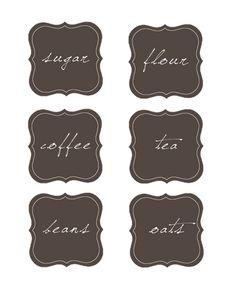 Pantry labels... lots of cute free printables on this site!