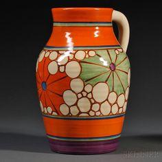 Clarice Cliff Orange Broth Lotus Jug, England, c. 1930