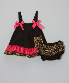 Take a look at this Hot Pink Leopard Swing Top & Diaper Cover - Infant & Toddler by Lila on #zulily today!
