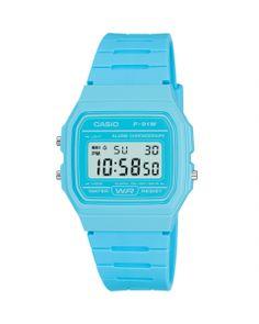 Casio LCD Blue Alarm-Chronograph Watch F-91WC-2AEF