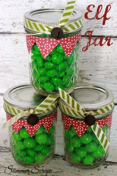Last week I shared with you my Santa Jar Craft and today I am excited to show you what I did with the green M&M's that came in the bag – I made an Elf Jar! #christmastradition