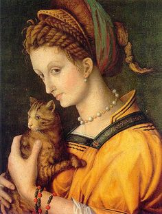 Francesco Ubertini, known as Il Bacchiacca (Italian, ~ Portrait of a Young Lady Holding a Cat ( Donna con gatto) ~ oil on canvas ~ 1525 ~ Francesco Ubertini painter of the Renaissance whose work is characteristic of the Florentine Mannerist. Costume Renaissance, Renaissance Kunst, Renaissance Portraits, Italian Renaissance, Crazy Cat Lady, Crazy Cats, Animal Gato, Cat People, 16th Century