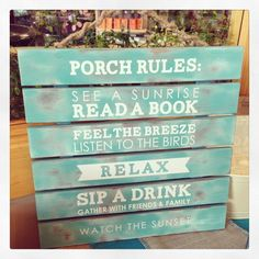Porch Rules #pallet with vinyl sayings! Easy project from the Craft Warehouse blog. #craftwarehouse craftwarehouse.com