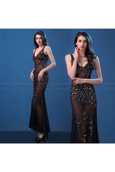 2016 Sexy Nightclub Bar V-Neck Dress Slim Fishtail Long Dresses Plus Size Maxi  Dresses 07280c0b494f